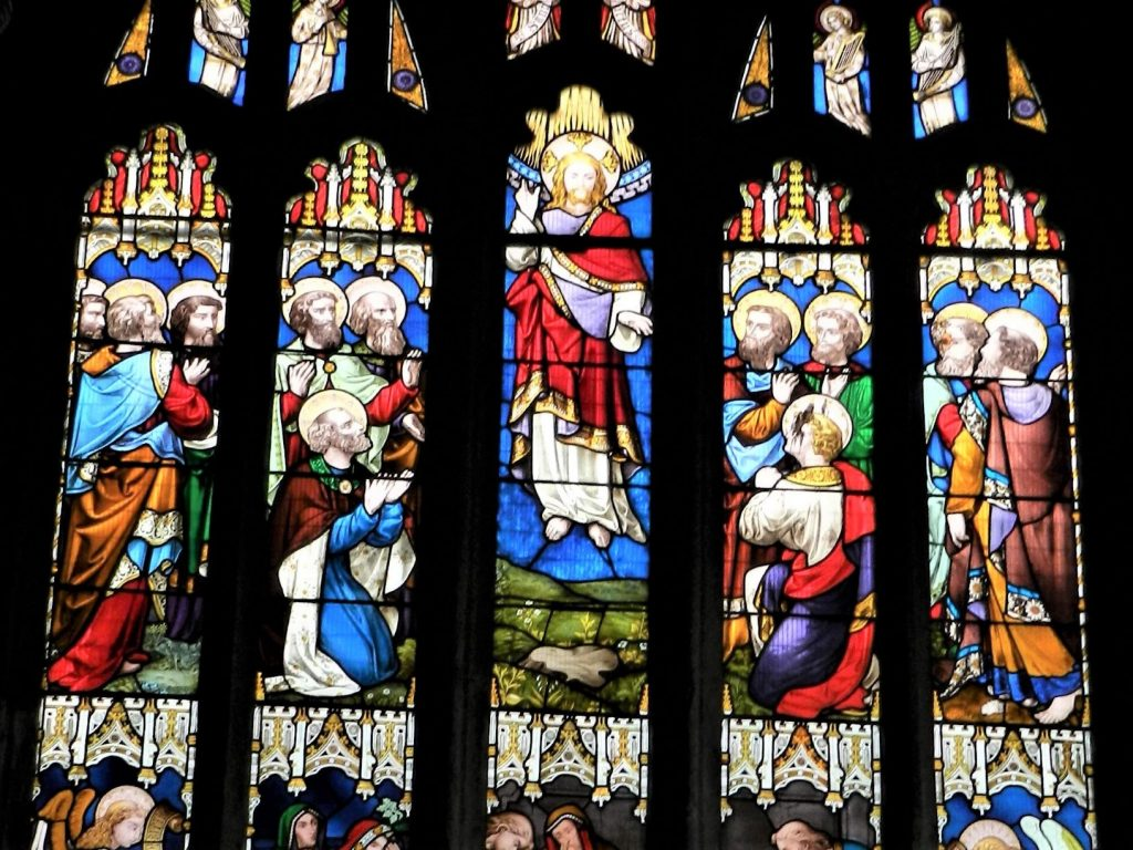 The ascension depicted in Stained glass at St Eustachius, Tavistock