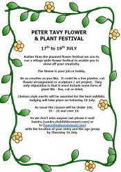 Peter Tavy FLOWER & PLANT FESTIVAL - 17th - 19th July 2020